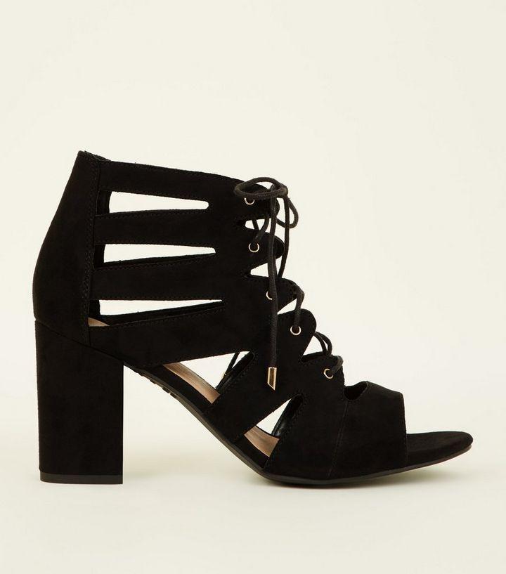 0e7601e6471f Wide Fit Black Suedette Lace Up Ghillie Block Heels