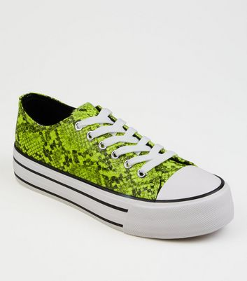 Yellow Neon Faux Snake Flatform Trainers