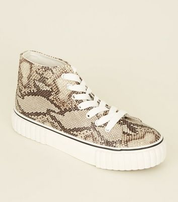 Black Snake Print Chunky High Top Trainers