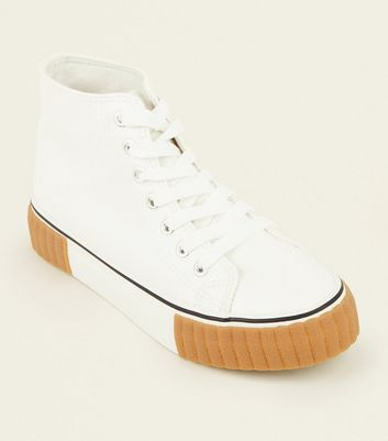 White High Top Gum Sole Flatform Trainers