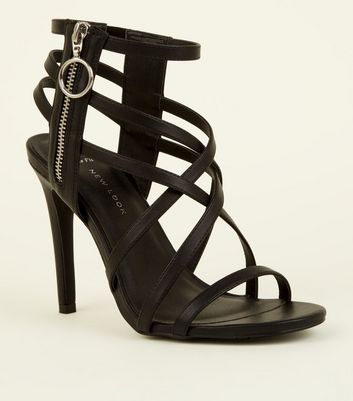 Wide Fit Black Strappy Ring Zip Stiletto Sandals