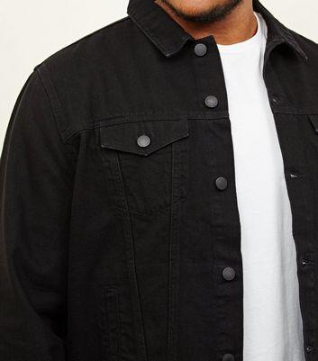 shop for Men's Plus Size Black Denim Jacket New Look at Shopo