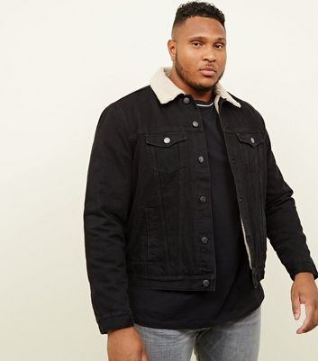 Plus Size Black Washed Denim Borg Lined Jacket