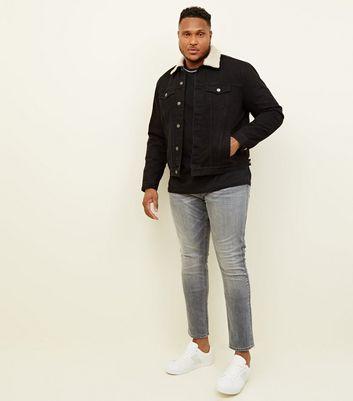 shop for Men's Plus Size Black Washed Denim Borg Lined Jacket New Look at Shopo