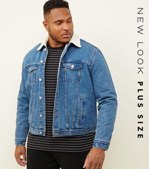 8c77d34257fd0 ... Plus Size Pale Blue Washed Borg Lined Denim Jacket ...