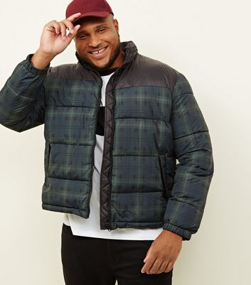 Plus Size Navy Check Puffer Jacket