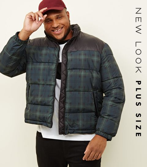 a188b66542d ... Plus Size Navy Check Puffer Jacket ...
