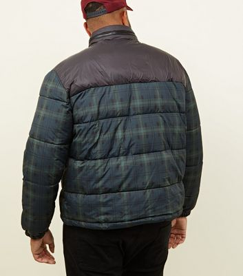 shop for Men's Plus Size Navy Check Puffer Jacket New Look at Shopo