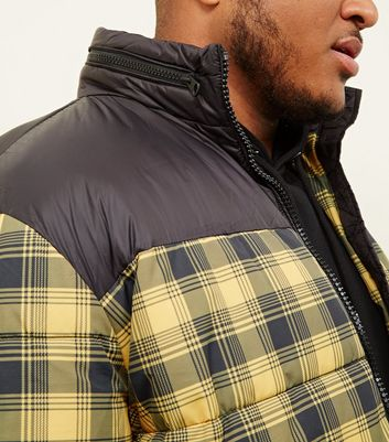 shop for Men's Plus Size Yellow Check Puffer Jacket New Look at Shopo