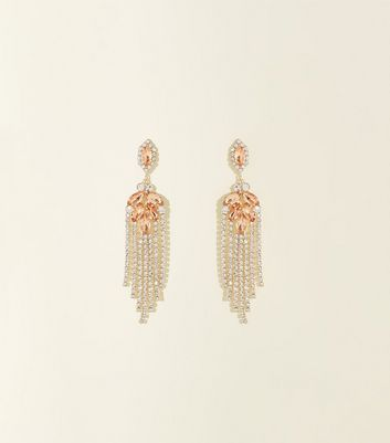 Gold Premium Diamanté Chandelier Chain Earrings