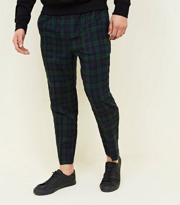 Navy and Green Check Trousers