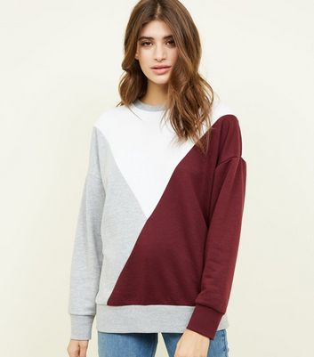 Burgundy Diagonal Colour Block Sweatshirt