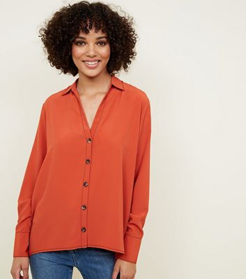 Orange Open Collar Contrast Stitch Shirt