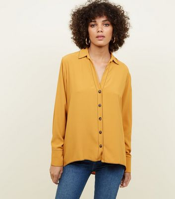Yellow Open Collar Contrast Stitch Shirt