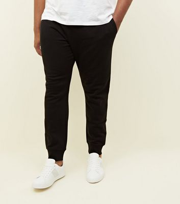 Plus Size Black Ribbed Cuffed Joggers