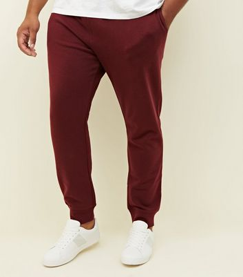 Plus Size Burgundy Ribbed Cuffed Joggers