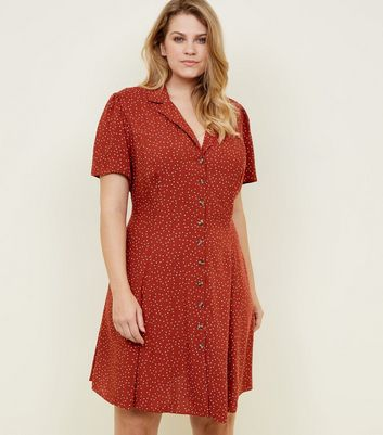 Curves Rust Spot Print Collared Tea Dress