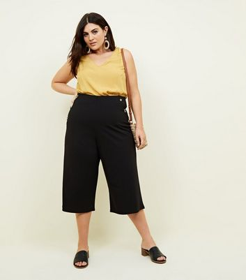 Curves Black Faux Horn Button Side Culottes