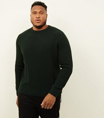 Plus Size Dark Green Tuck Stitch Knit Jumper