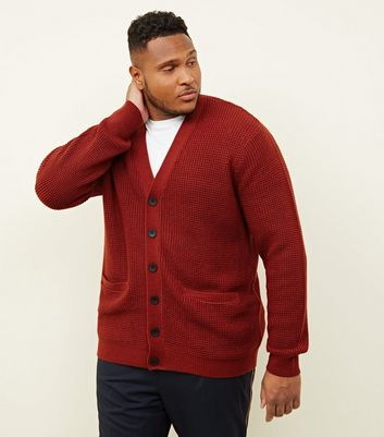 Plus Size Rust Tuck Stitch Knit Button Front Cardigan