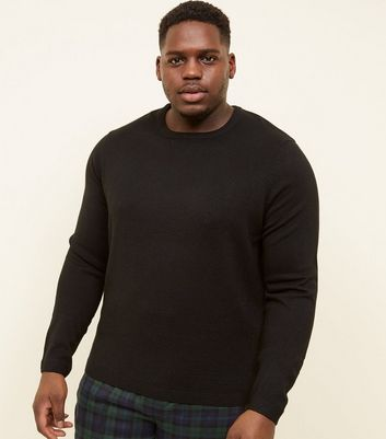 Plus Size Black Textured Front Crew Neck Jumper