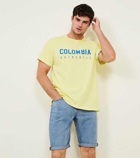 7e0b9df8e302b ... Pale Yellow Colombia Slogan T-Shirt ...