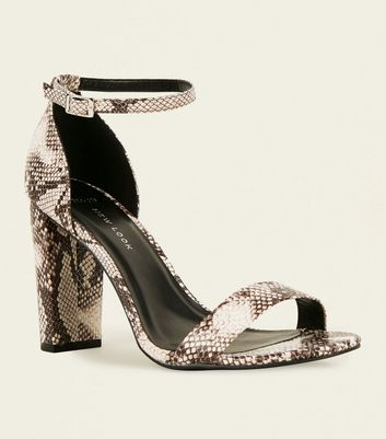 Wide Fit Brown Faux Snake Block Heel Sandals