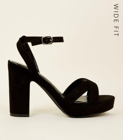9422bda3ca93 ... Wide Fit Black Suedette Cross Strap Platform Heels ...