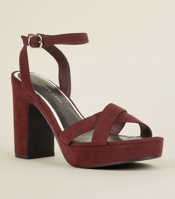 Wide Fit Dark Red Suedette Cross Strap Platform Heels