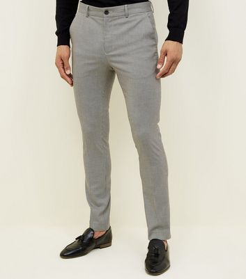 Pale Grey Houndstooth Check Skinny Trousers