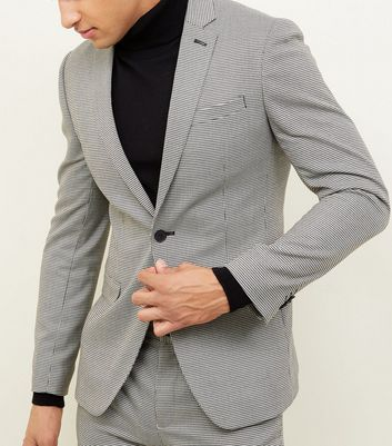 Pale Grey Mini Houndstooth Print Blazer