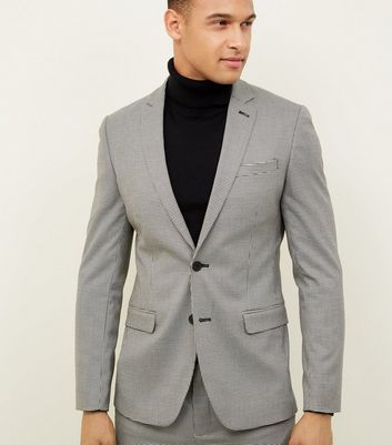 shop for Men's Pale Grey Mini Houndstooth Print Blazer New Look at Shopo