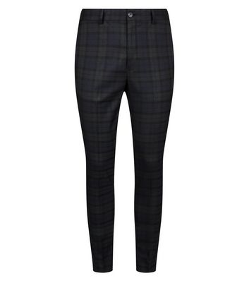 f67066aceb4 Dark Green Black Watch Check Skinny Trousers