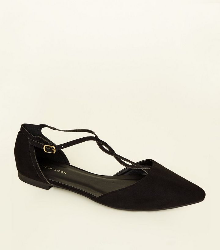 b368ce1d369 Black Suedette Twist T-Bar Pointed Pumps Add to Saved Items Remove from  Saved Items
