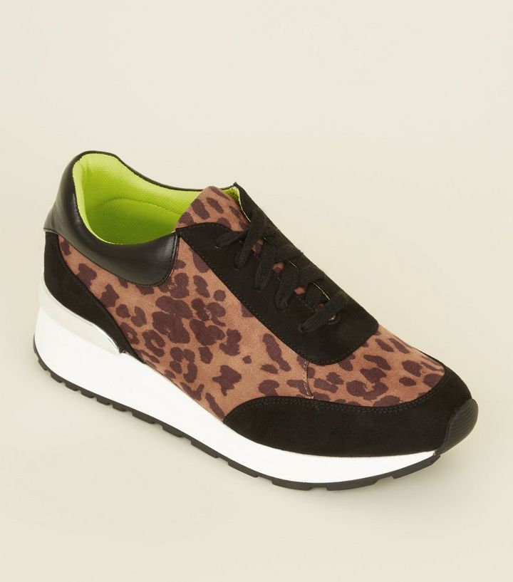 e310a0f1a315 Tan Suedette Leopard Print Chunky Trainers | New Look
