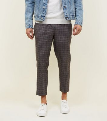 Dark Grey Check Woven Joggers