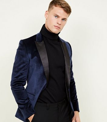 Navy Velvet Satin Collar Blazer