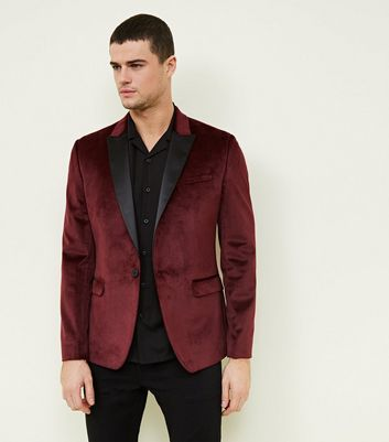 Burgundy Velvet Satin Collar Blazer