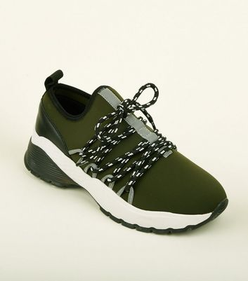 Khaki Limited Edition Hiker Lace Up Chunky Trainers