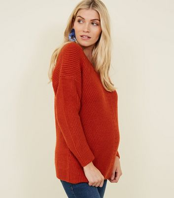 Maternity Orange Lattice Back Jumper