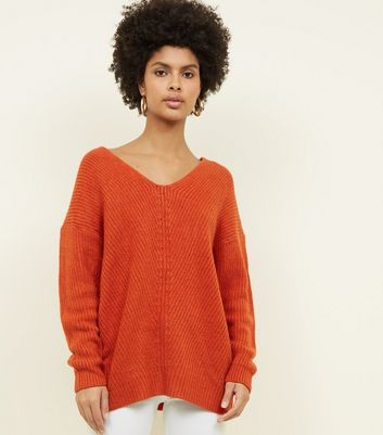 Tall Orange V Neck Stitch Jumper