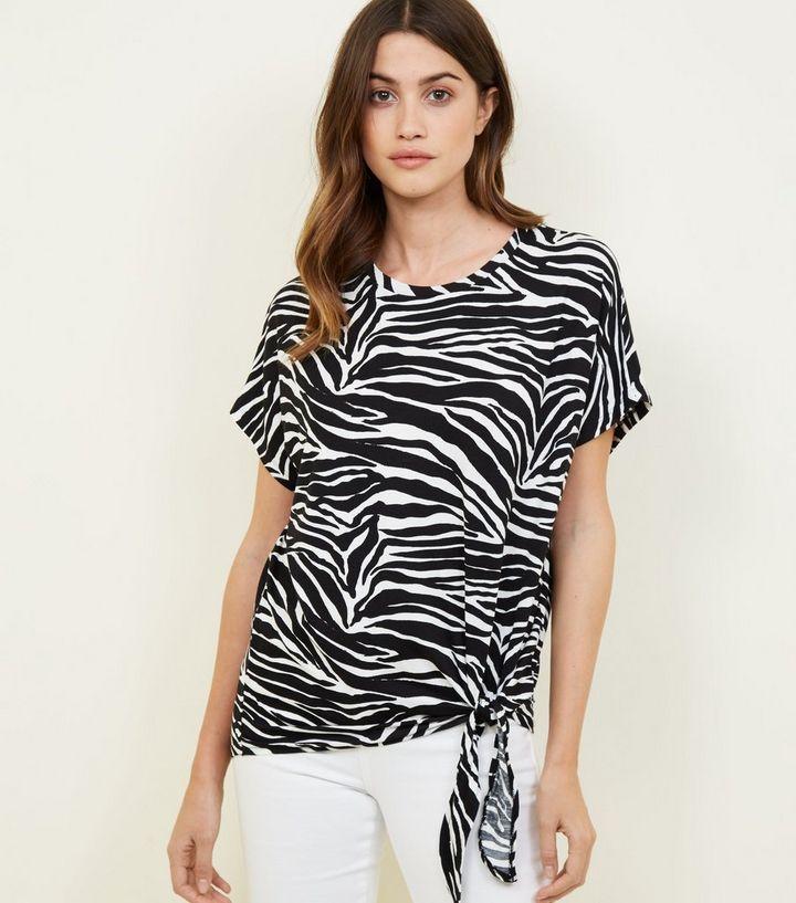 01722ef41a35 Black Zebra Print Side Tie Side T-Shirt   New Look