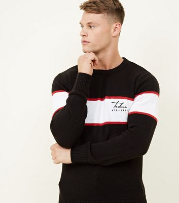 Black Stripe Embroidered Tribeca Logo Sweatshirt