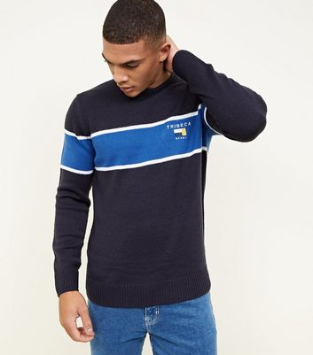 Navy Stripe Embroidered Tribeca Logo Jumper