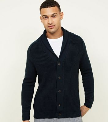 Teal Shawl Neck Button-Up Cardigan