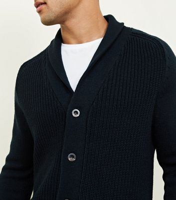 Teal Shawl Neck Button-Up Cardigan New Look
