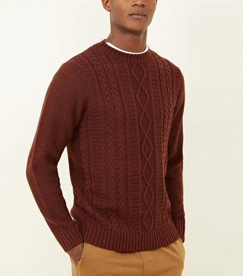 Rust Twisted Cable Knit Jumper