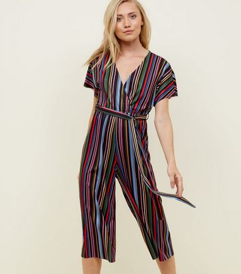 Petite Black Rainbow Stripe Ribbed Jumpsuit