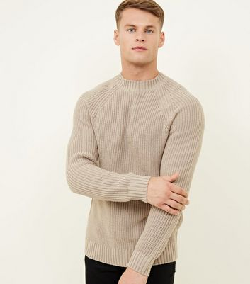Camel Raglan Sleeve Ribbed Jumper