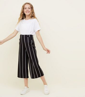 Girls Black Stripe Button Front Culottes